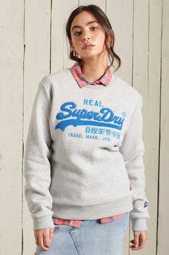 superdry sweater vl chenille crew met 3d-chenille print grijs