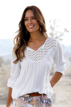 lascana crêpe-blouse met broderie anglaise wit