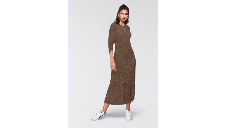 AJC Midi-jurk van duurzaam gecertificeerde viscose met een modieuze print all-over – nieuwe collectie