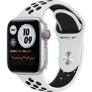 apple watch nike series 6 gps + cellular, aluminium kast met nike sportbandje 40 mm inclusief oplaadstation (magnetische oplaadkabel) zilver