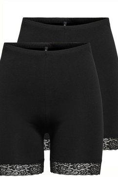 only fietsbroekje onllive love life lace shorts (set van 2) zwart