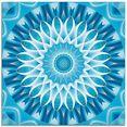 artland print op glas mandala blauw bloem (1 stuk) blauw