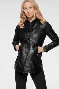 gipsy leren jack cleeo stijlvolle hoogwaardige lange blazer in two-in-one-look zwart