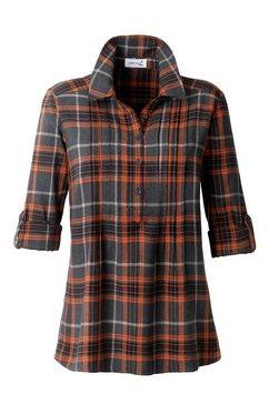 blouse met hoogwaardig in het garen geverfd ruitdessin oranje