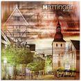 artland print op glas hattingen skyline abstracte collage (1 stuk) bruin