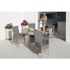 konifera tuinmeubelset »belluno«, 9-tlg., 4 sessel, tisch ø 100 cm, polyrattan grijs