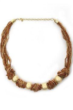 collezione alessandro collier c2593-f09 met glas- en kunststof kralen bruin