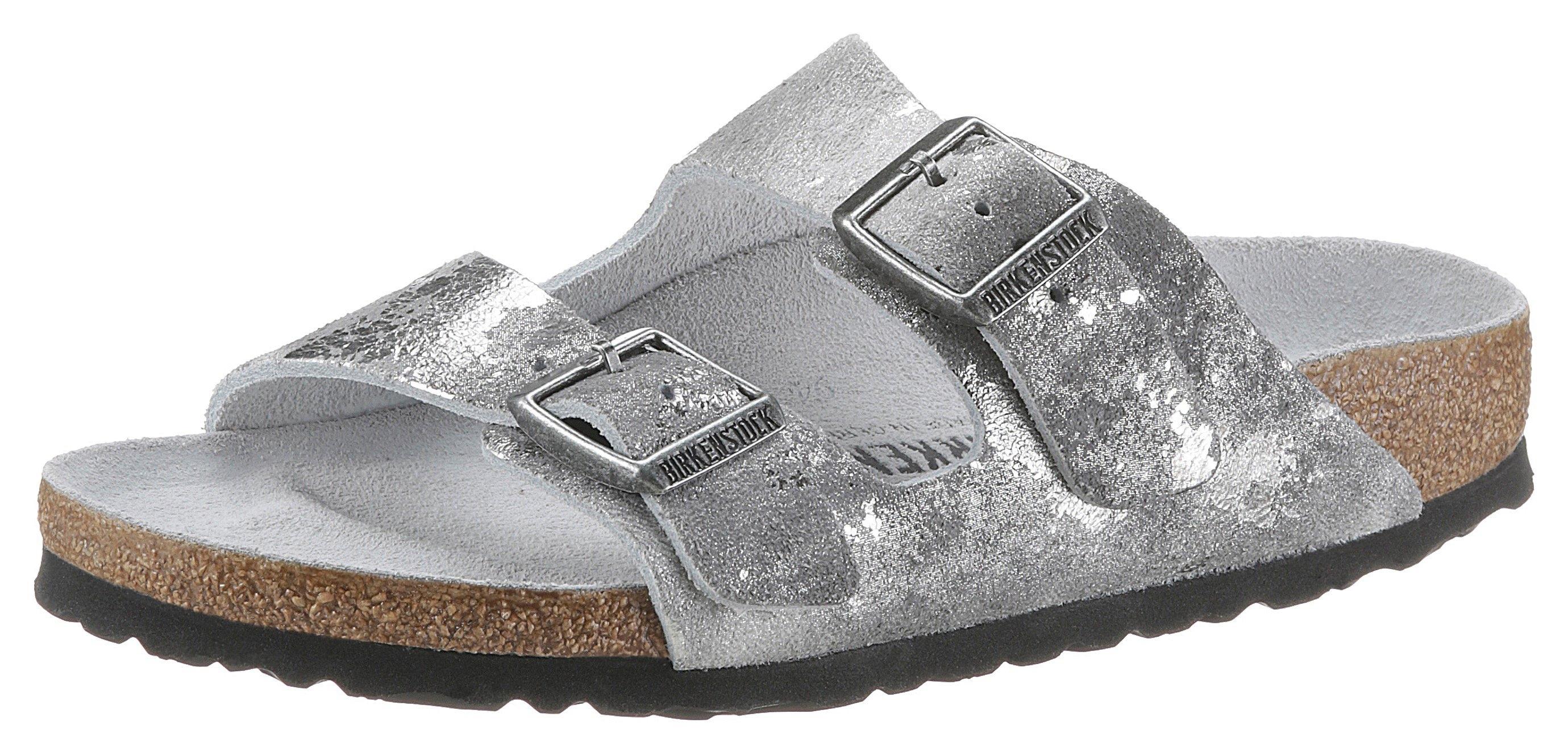 Birkenstock slippers Arizona vintage metallic in metallic-look, van suèdeleer nu online bestellen