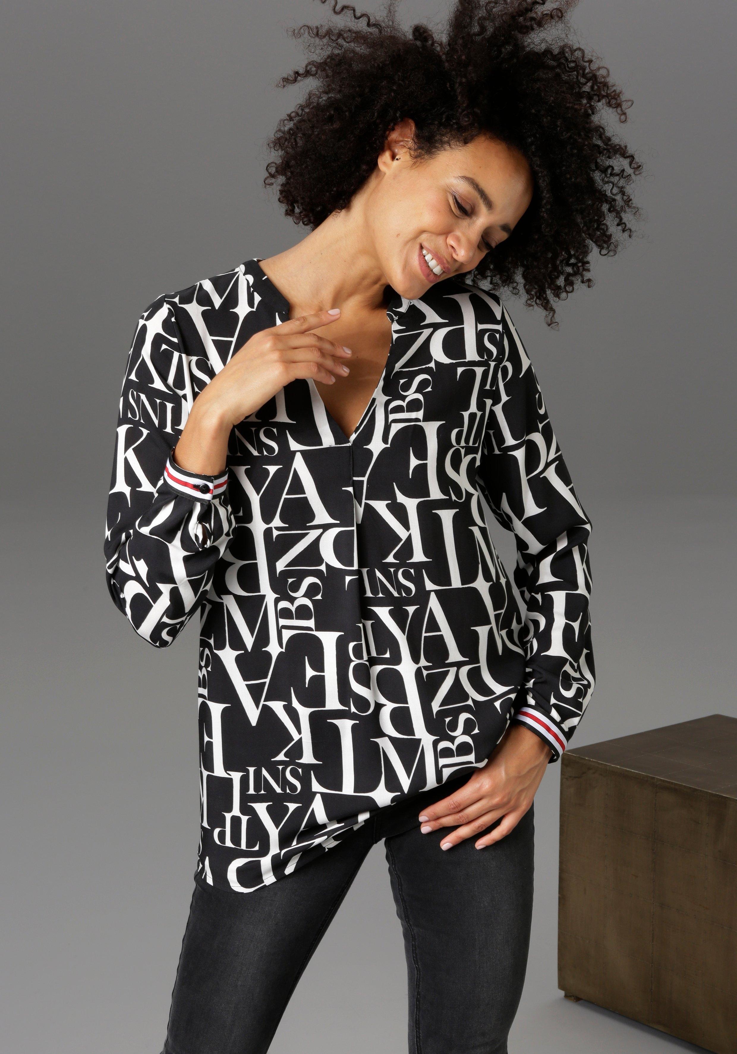 Aniston CASUAL blouse zonder sluiting met letters gedessineerd - nieuwe collectie nu online kopen bij OTTO