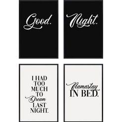 artprint »good night - premium poster 4er set« zwart
