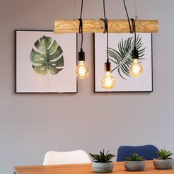 otto products hanglamp jonne hanglamp met massief houten balken oe 8-12 cm, natuurproduct met fsc-certificaat, in te korten, made in europe, exclusief lampen (1 stuk) bruin
