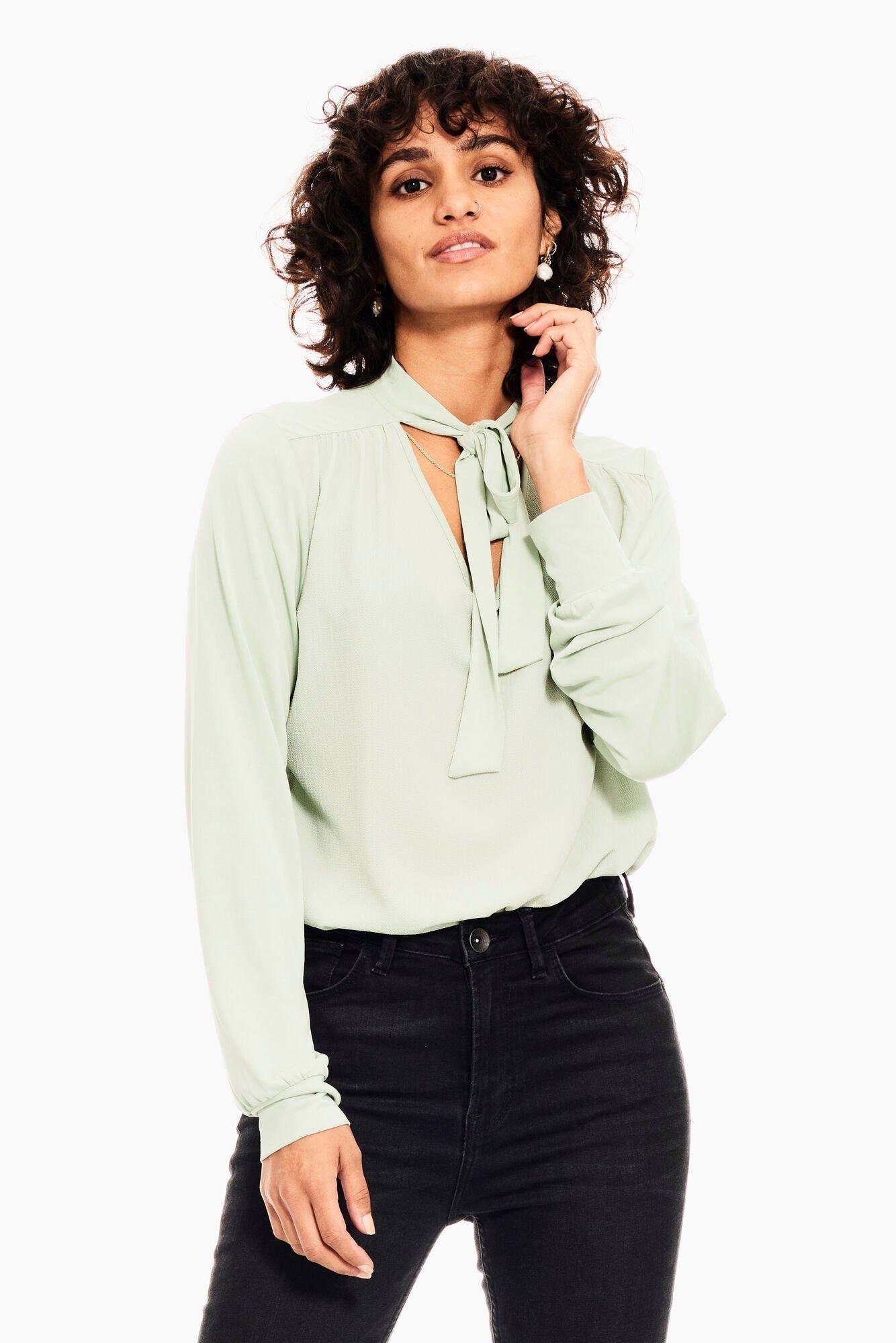 Garcia klassieke blouse V00210 - 2 met hals voorzien van strik in de webshop van OTTO kopen