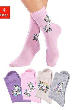 h.i.s basic sokken met eenhoorn motieven (4 paar) multicolor