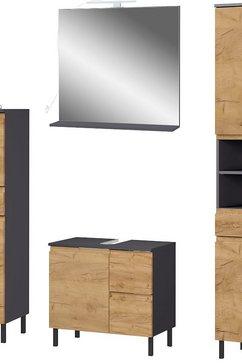 germania badkamerserie scantic halfhoge kast, spiegel, wastafelonderkast, hoge kast, inclusief verlichting, greeploze look, mdf-fronten (set, 4 stuks) bruin