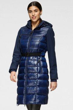 alpenblitz softshell-jack bergen long met gestikte body-delen lang model, perfect bij fris weer (2 stuks, met riem) blauw