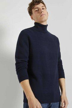 tom tailor denim trui met ronde hals »rollkragenpullover mit streifenstruktur« blauw