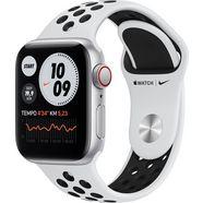 apple watch nike se gps + cellular, aluminium kast met nike sportbandje 40 mm inclusief oplaadstation (magnetische oplaadkabel) zilver