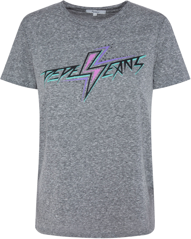 Pepe Jeans shirt met korte mouwen Dafne met futuristisch merkopschrift in de webshop van OTTO kopen