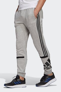 adidas performance trainingsbroek »essentials logo colorblock cuff« grijs