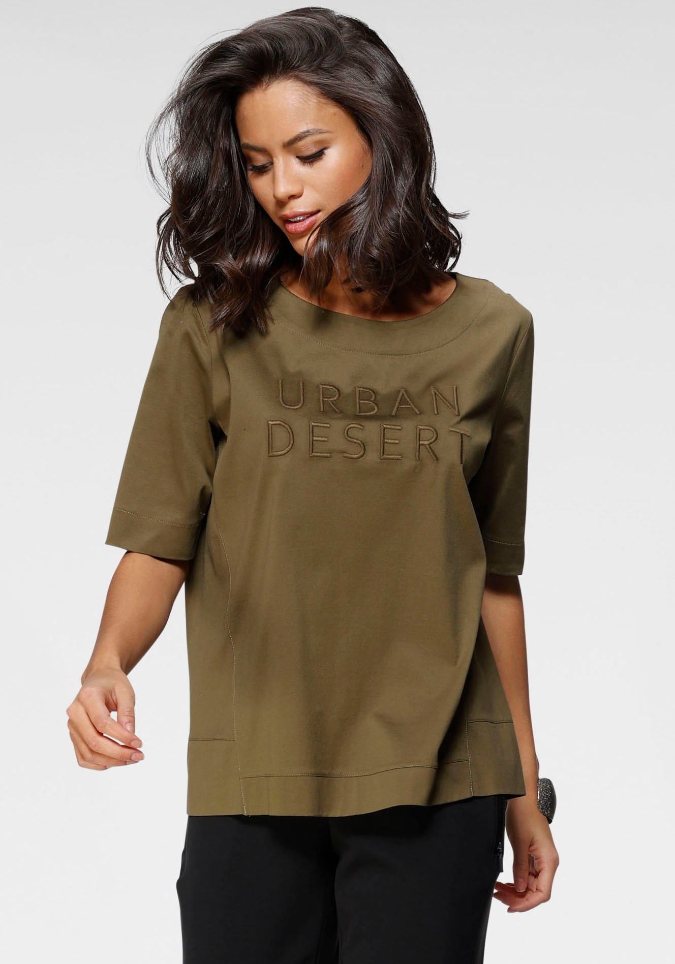 Gerry Weber shirt met korte mouwen met geborduurd opschrift voor nu online bestellen