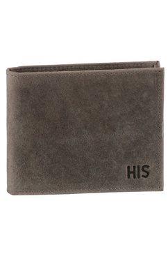 h.i.s portemonnee van zacht leer grijs
