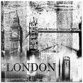 artland print op glas londen skyline abstracte collage 04 (1 stuk) zwart