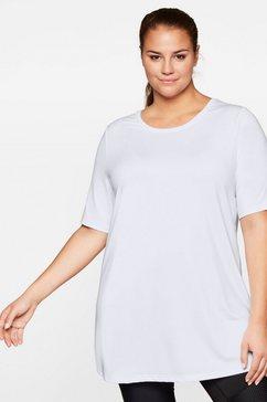 sheego lang shirt met ventilerende, sneldrogende functie wit