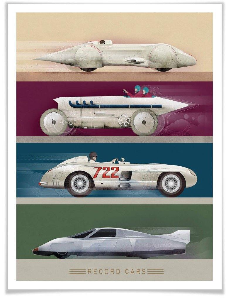 Wall-Art poster Record Cars Poster, artprint, wandposter (1 stuk) - gratis ruilen op otto.nl