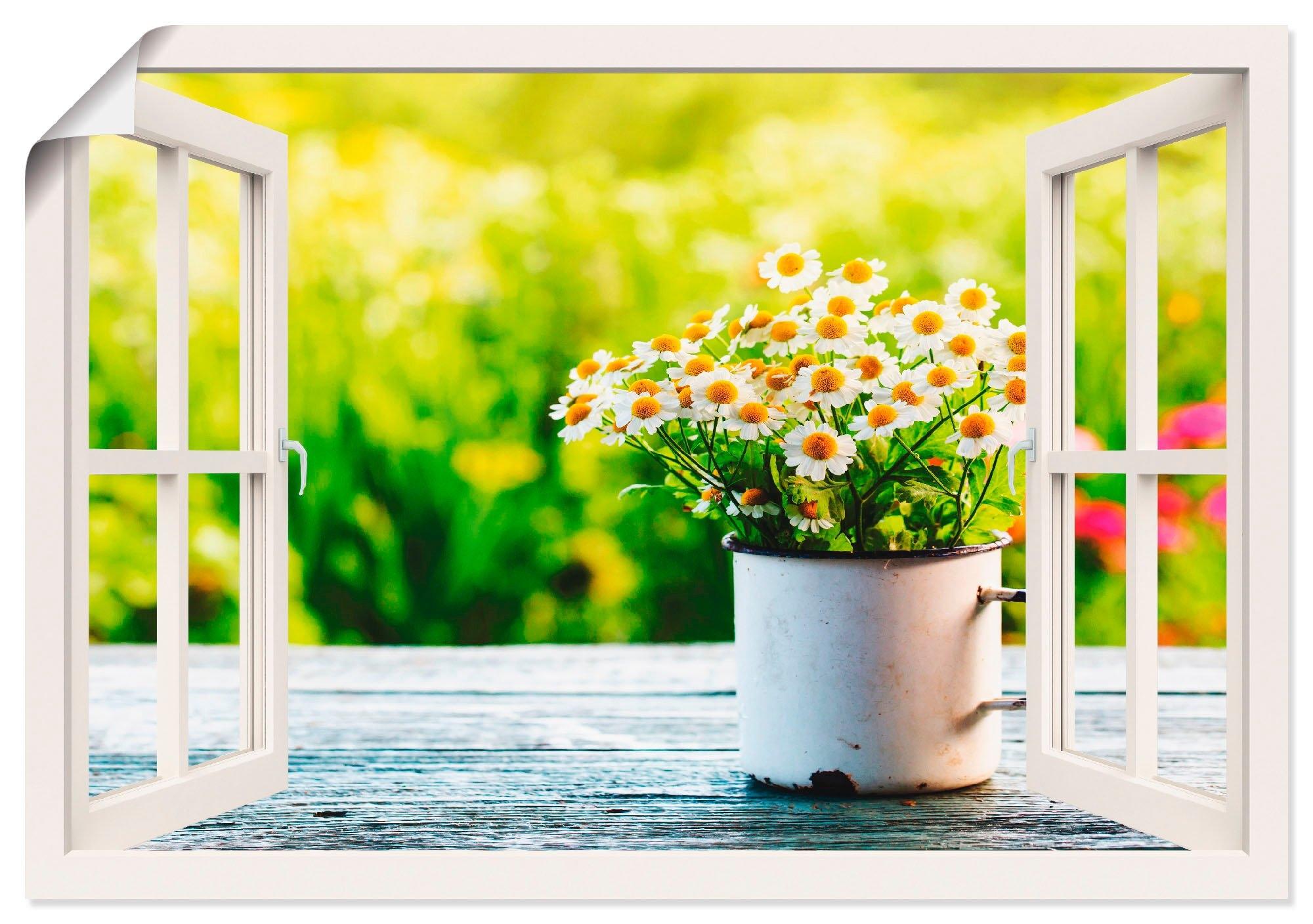 Artland artprint Blik uit het venster tuin met madeliefje in vele afmetingen & productsoorten - artprint van aluminium / artprint voor buiten, artprint op linnen, poster, muursticker / wandfolie ook geschikt voor de badkamer (1 stuk) veilig op otto.nl kopen