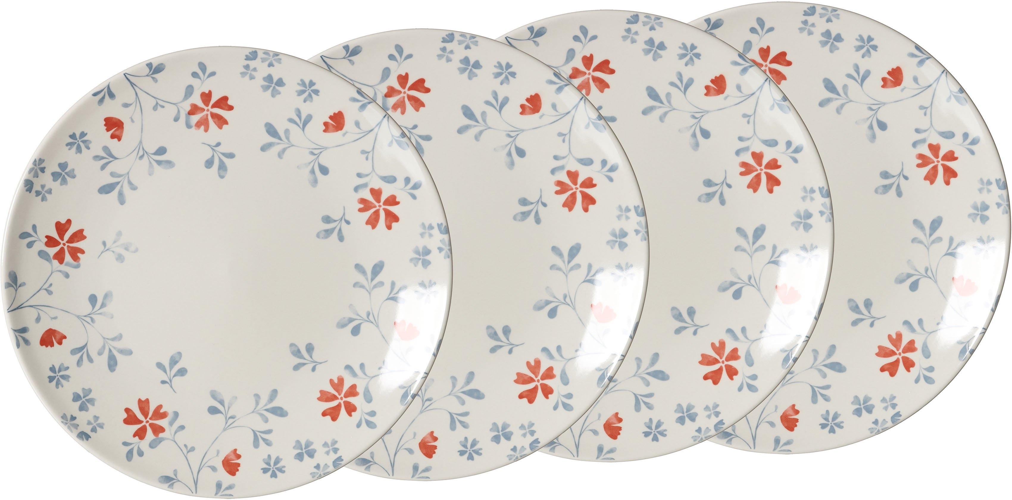 Ritzenhoff & Breker plat bord Julia met bloemmotief-decor, ø 26,5 cm (set, 4 stuks) - gratis ruilen op otto.nl