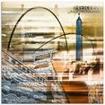 artland print op glas herten skyline abstracte collage (1 stuk) geel