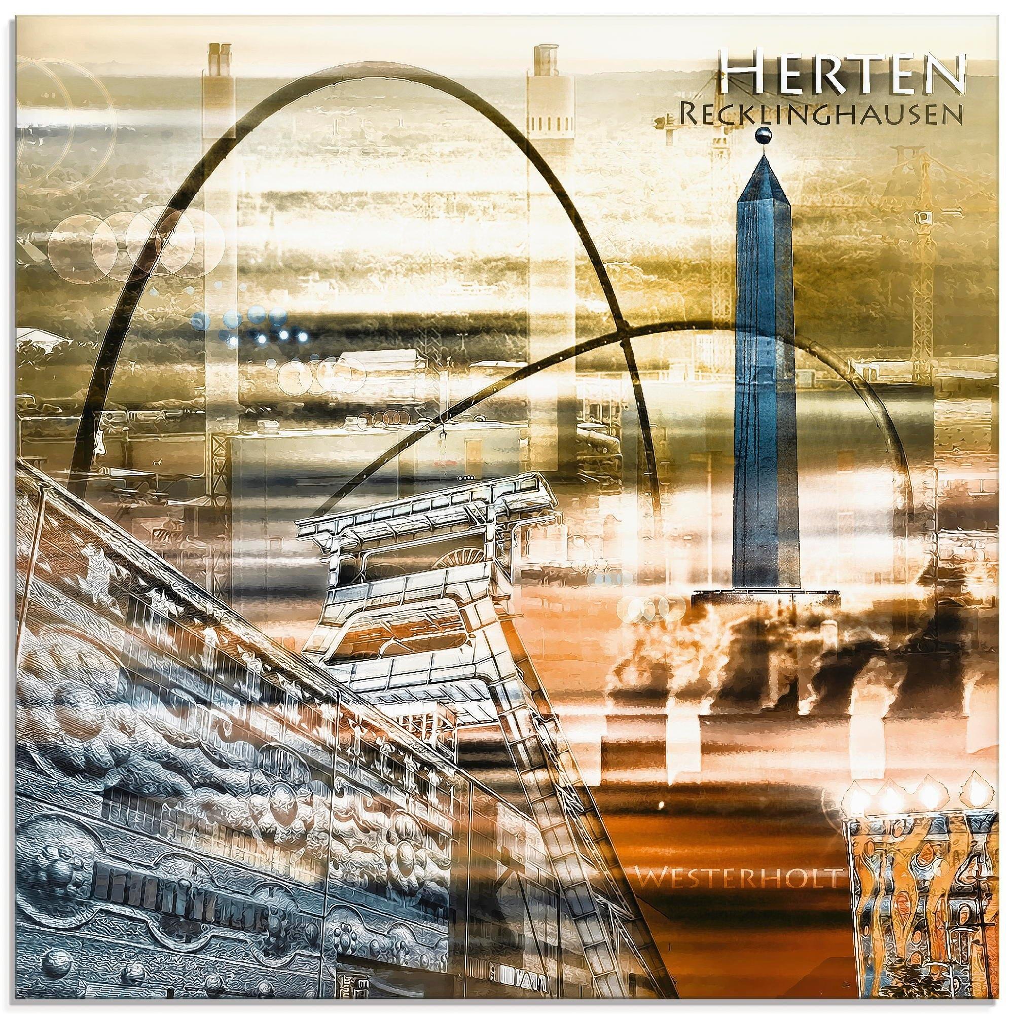 Artland Print op glas Herten skyline abstracte collage (1 stuk) voordelig en veilig online kopen