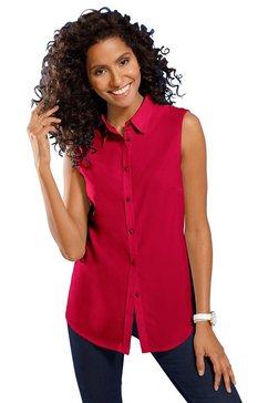 classic basics mouwloze blouse met een iets afgeronde zoom rood