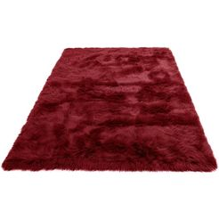 home affaire vachtvloerkleed valeria imitatiebont, zeer zachte pool, woonkamer rood