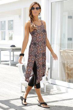 beachtime lange top met all-over print (set, met legging) bruin