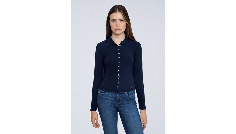 Pepe Jeans shirt met lange mouwen Agnes met kentkraag en doorknoopsluiting