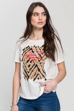 gerry weber shirt met korte mouwen met flammégaren-structuur en afrika-print wit