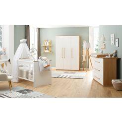 luettenhuett baby complete babykamerset lauris, weiss-eiche (set, 3 stuks) wit