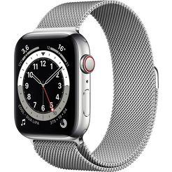 apple »series 6 gps + cellular, edelstahlgehaeuse mit milanaise armband 44mm« watch zilver