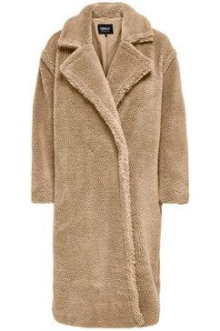 only lange jas onlevelin long teddy coat van teddy-pluche bruin