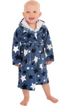 wewo fashion kinderbadjas 8207 met sterren (1 stuk, met riem) blauw