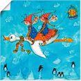 artland artprint twee engeltjes vliegen op een zwaan in vele afmetingen  productsoorten -artprint op linnen, poster, muursticker - wandfolie ook geschikt voor de badkamer (1 stuk) blauw
