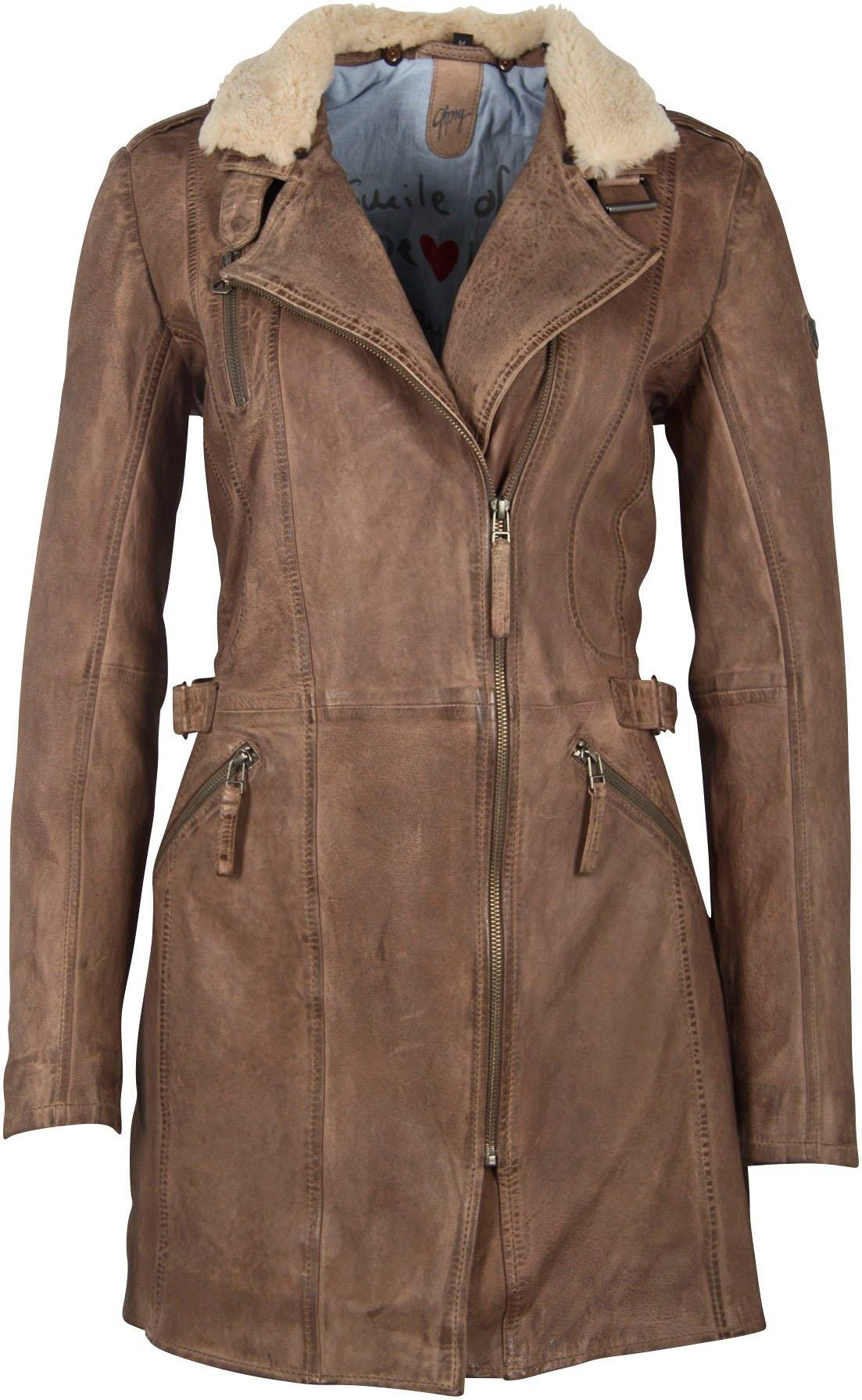 Gipsy Lange, leren jas MARGY met een afneembare kraag voordelig en veilig online kopen