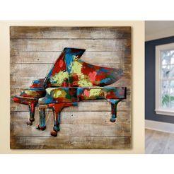 gilde gallery metalen artprint kunstobject piano met de hand gemaakte 3d-artprint, 80x80 cm, van metaal, motief piano, woonkamer (1 stuk) multicolor