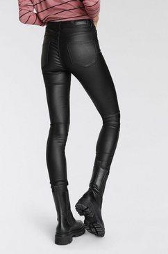 vero moda stretchbroek vmseven coated zwart