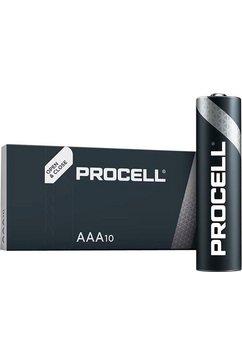 duracell batterij alkaline, micro, aaa, lr03, 1.5v, procell, box (10 stuks) (set, 10 stuks) zwart