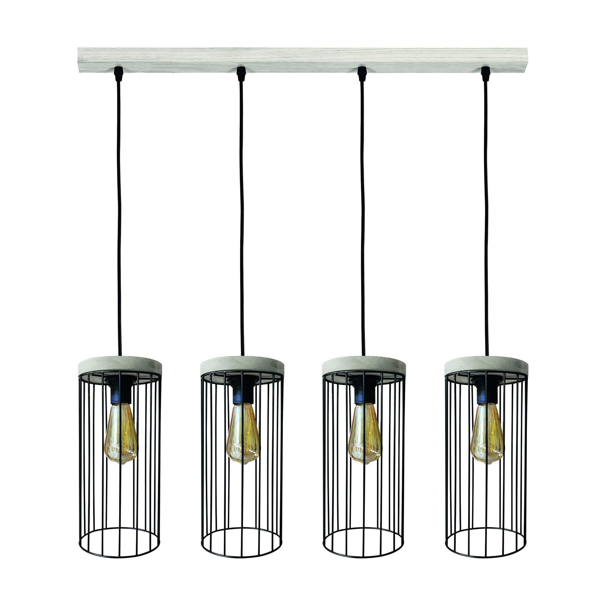 BRITOP LIGHTING hanglamp TIMEO WOOD max Hanglamp, trendy kap in kooi-look van metaal, met grenenhout in grijs, bijpassende LM E27 / exclusief, Made in Europe veilig op otto.nl kopen
