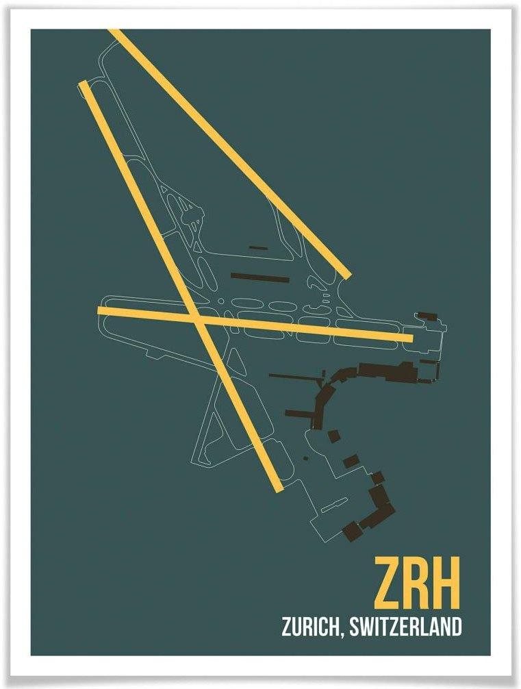 Wall-Art poster Artprint ZRH plattegrond Zürich Poster, artprint, wandposter (1 stuk) online kopen op otto.nl