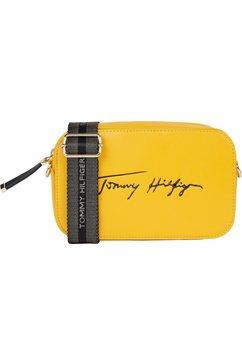 tommy hilfiger mini-bag iconic tommy camera bag sign met logo-opschrift geel