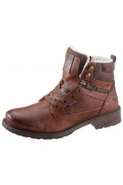 mustang shoes winterlaarsjes met sierrits aan de buitenkant bruin